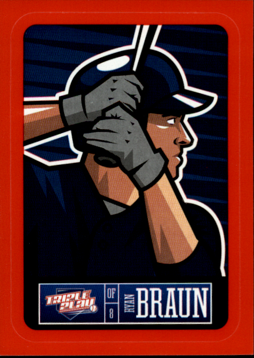 2013 Triple Play Stickers Red #14 Ryan Braun