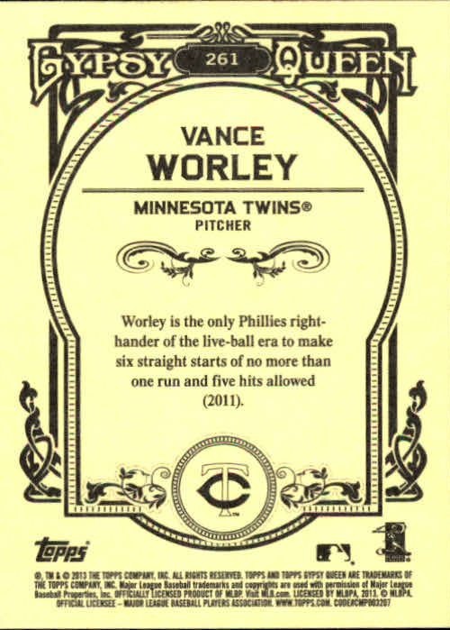2013 Topps Gypsy Queen #261 Vance Worley