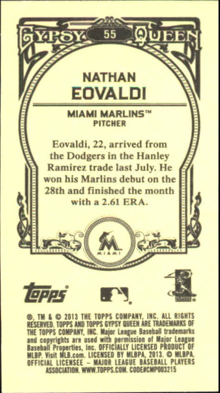 2013 Topps Gypsy Queen Mini #55 Nathan Eovaldi back image