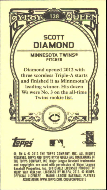 2013 Topps Gypsy Queen Mini #138 Scott Diamond back image
