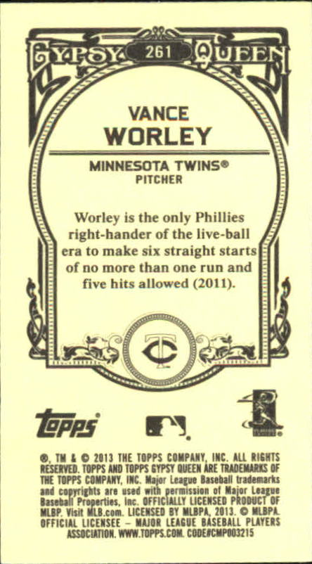 2013 Topps Gypsy Queen Mini #261 Vance Worley