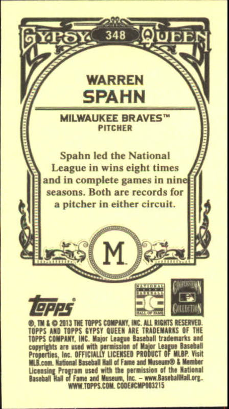 2013 Topps Gypsy Queen Mini #348 Warren Spahn