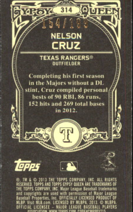 2013 Topps Gypsy Queen Mini Black #314 Nelson Cruz
