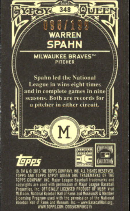 2013 Topps Gypsy Queen Mini Black #348 Warren Spahn