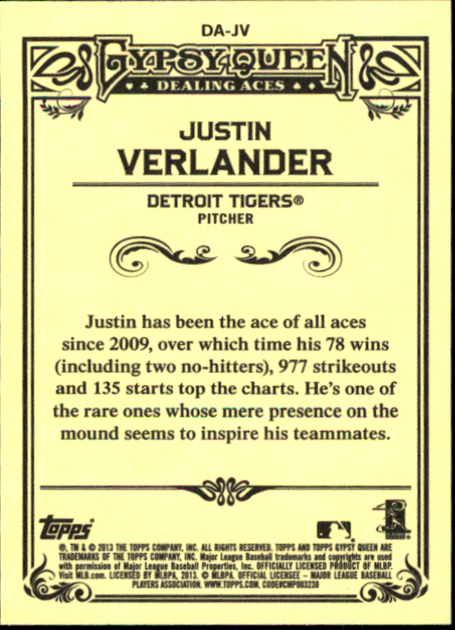 2013 Topps Gypsy Queen Dealing Aces #JV Justin Verlander back image