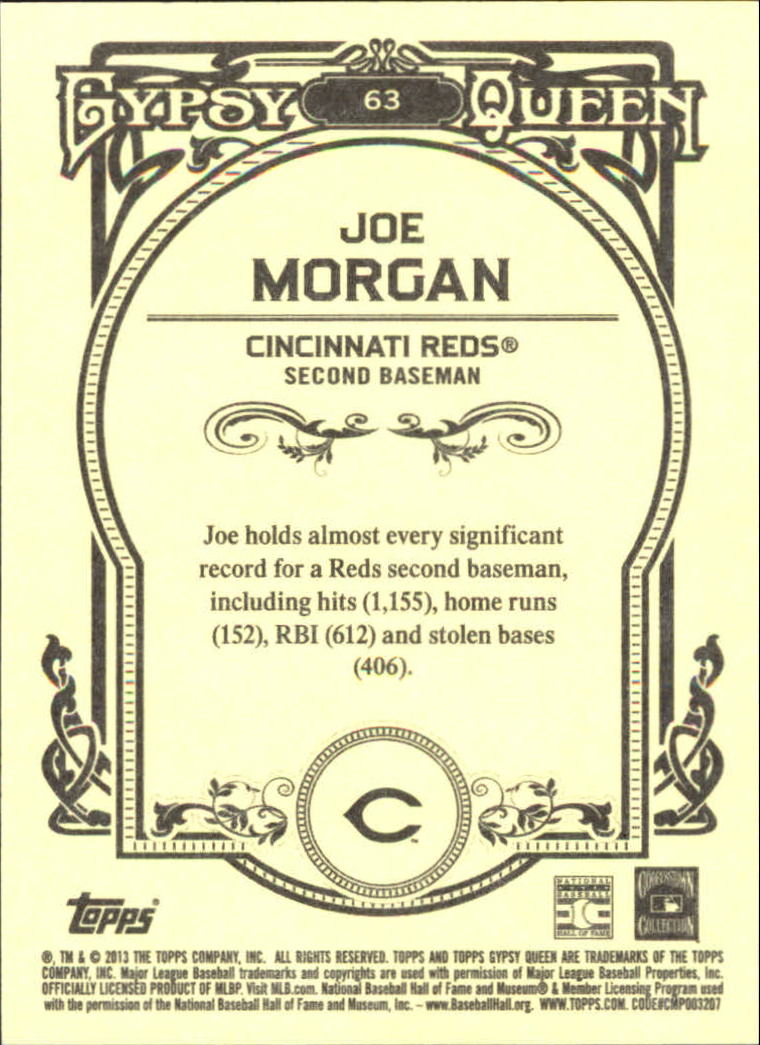 2013 Topps Gypsy Queen Framed Blue #63 Joe Morgan