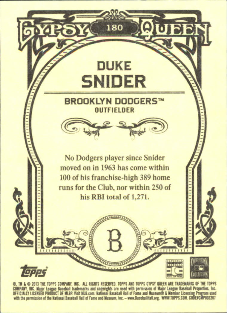 2013 Topps Gypsy Queen Framed Blue #180 Duke Snider