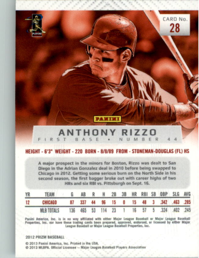 2012 Panini Prizm #28 Anthony Rizzo back image