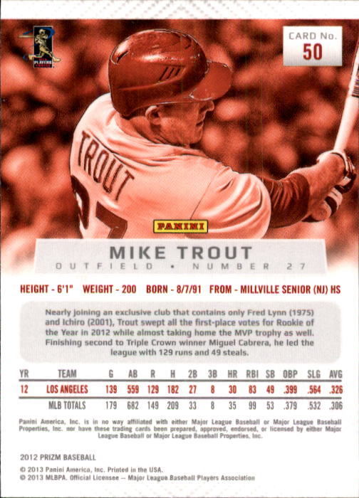 2012 Panini Prizm #50 Mike Trout back image