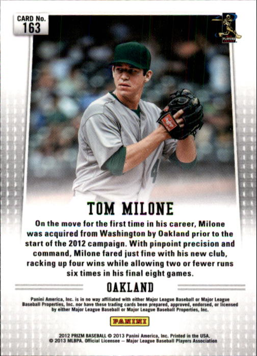 2012 Panini Prizm #163 Tom Milone RC back image