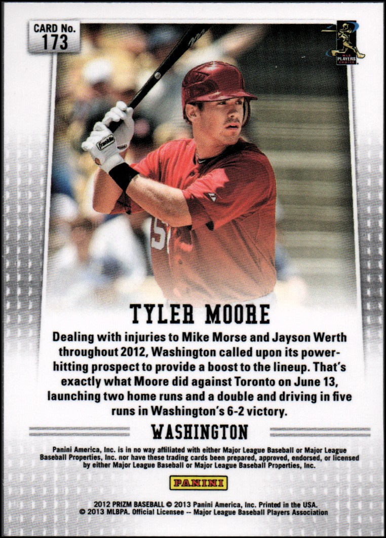 2012 Panini Prizm #173 Tyler Moore RC back image