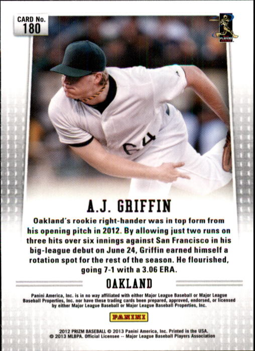 2012 Panini Prizm #180 A.J. Griffin RC
