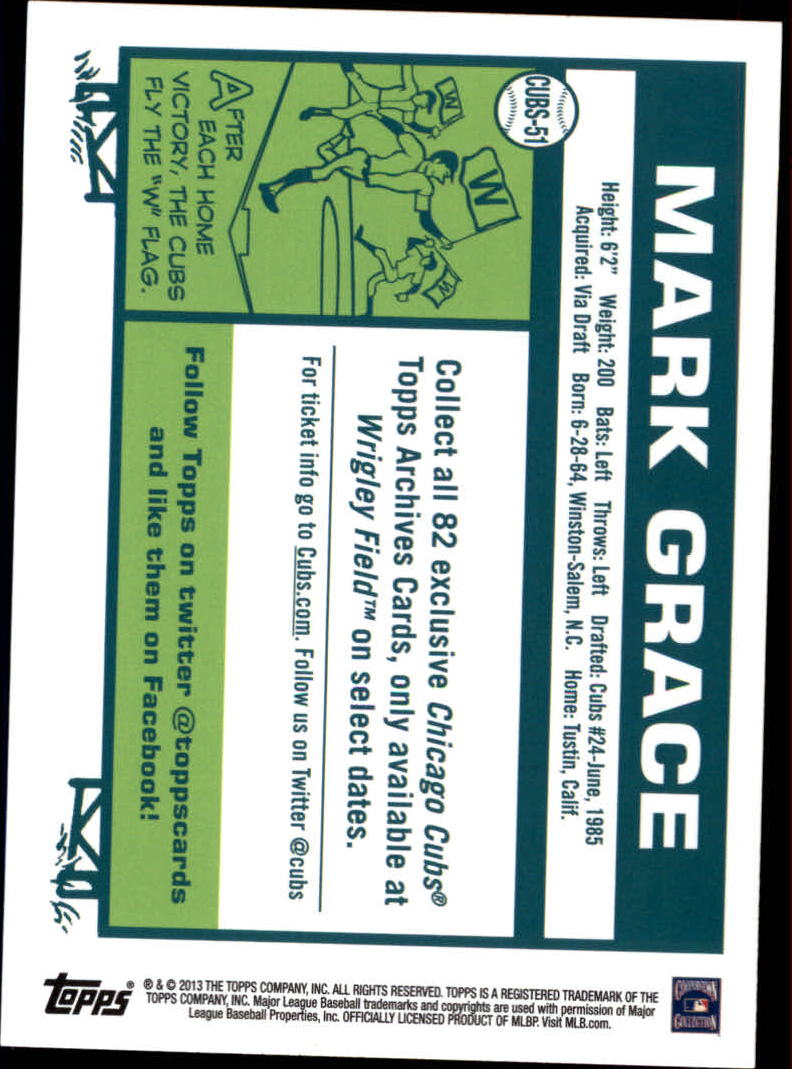 2013 Cubs Topps Archives Season Ticket Holder #51 Mark Grace