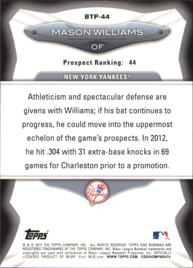 2013 Bowman Top 100 Prospects #BTP44 Mason Williams