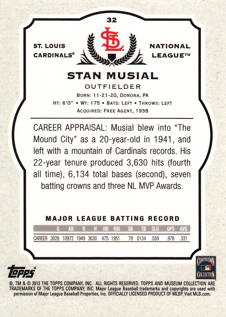 2013 Topps Museum Collection #32 Stan Musial back image