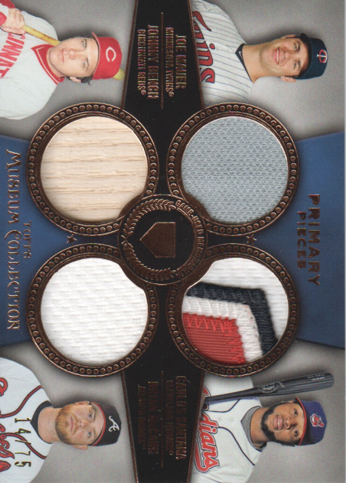 2013 Topps Museum Collection Primary Pieces Four Player Quad Relics Copper #8 Johnny Bench/Brian McCann/Carlos Santana/Joe Mauer