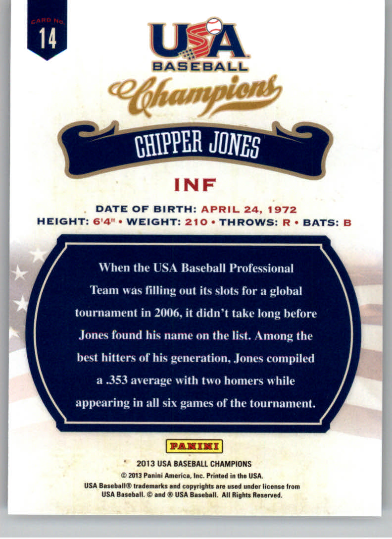 2013 USA Baseball Champions #14 Chipper Jones