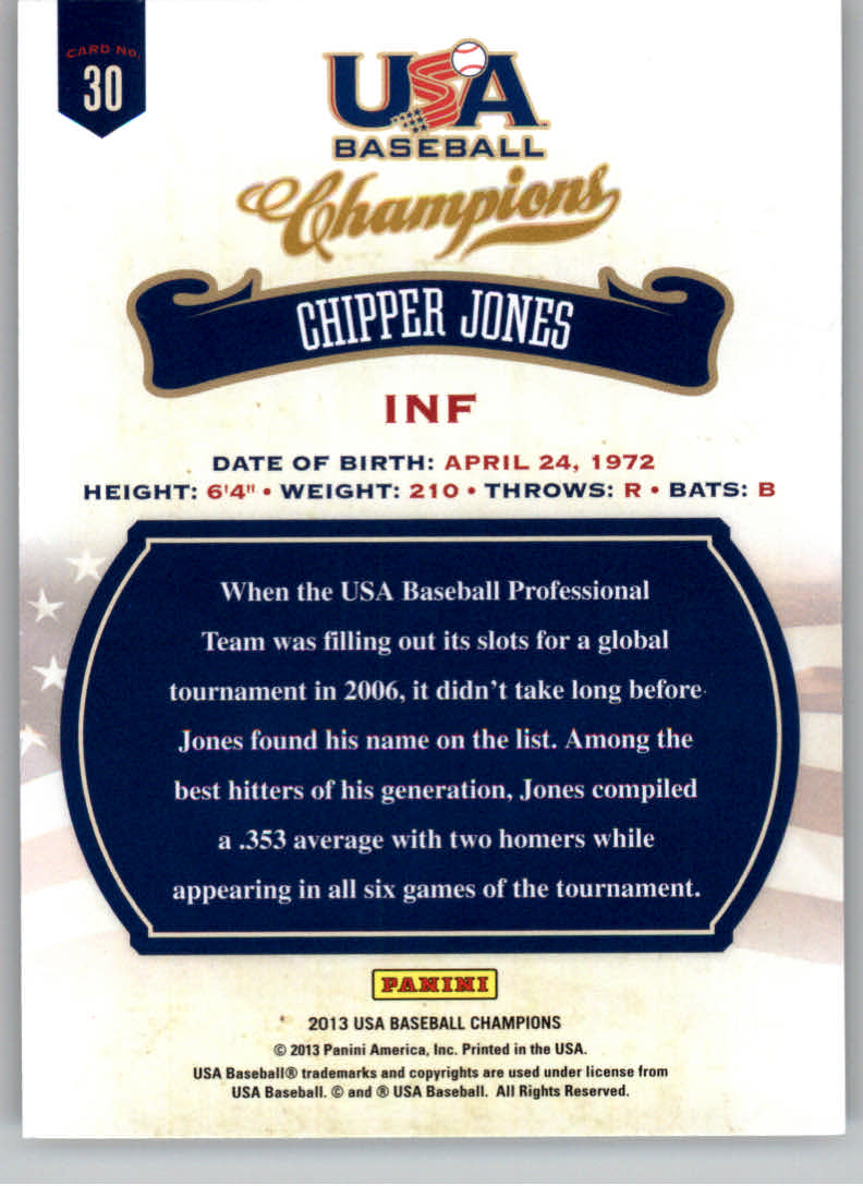 2013 USA Baseball Champions #30 Chipper Jones