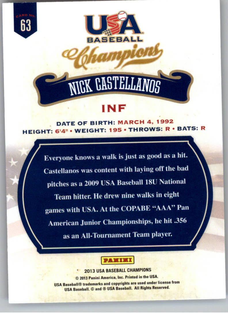 2013 USA Baseball Champions #63 Nick Castellanos back image