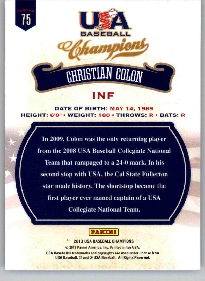 2013 USA Baseball Champions #75 Christian Colon back image