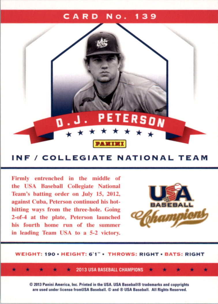 2013 USA Baseball Champions #139 D.J. Peterson