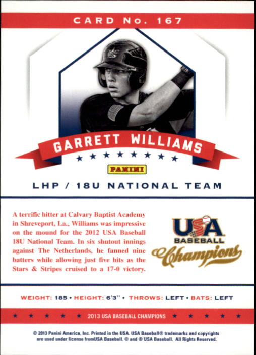 2013 USA Baseball Champions #167 Garrett Williams back image