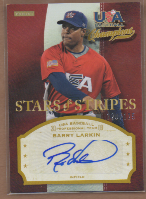 2013 USA Baseball Champions Stars and Stripes Signatures #20 Barry Larkin/125