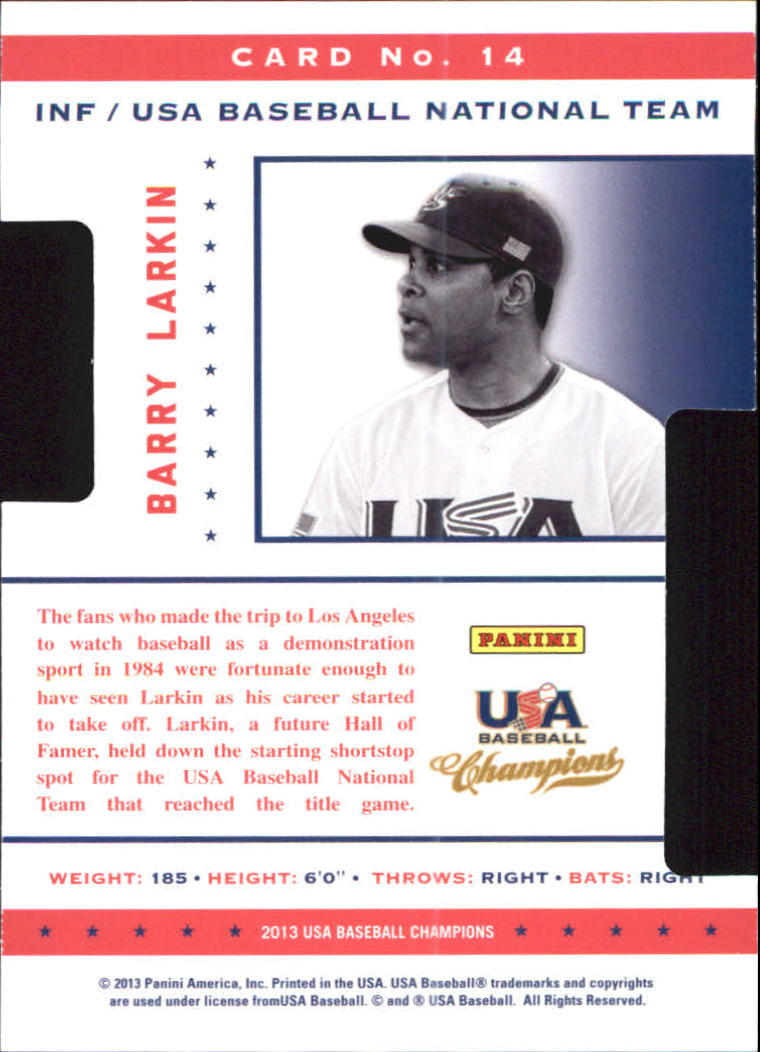 2013 USA Baseball Champions Legends Certified Die-Cuts #14 Barry Larkin