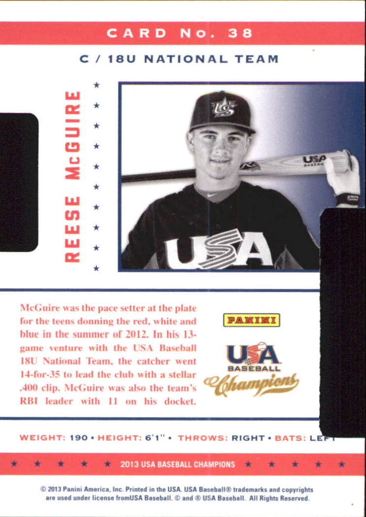 2013 USA Baseball Champions Legends Certified Die-Cuts #38 Reese McGuire back image