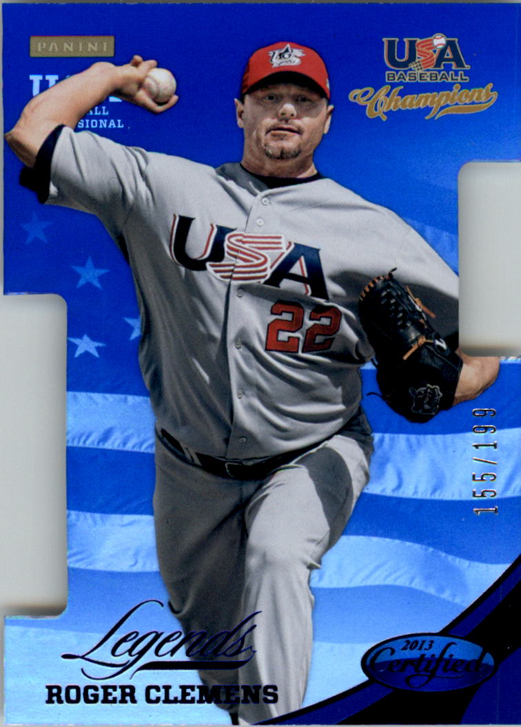 2013 USA Baseball Champions Legends Certified Die-Cuts Mirror Blue #4 Roger Clemens