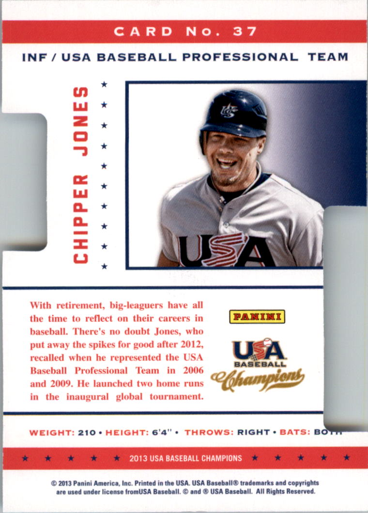 2013 USA Baseball Champions Legends Certified Die-Cuts Mirror Blue #37 Chipper Jones