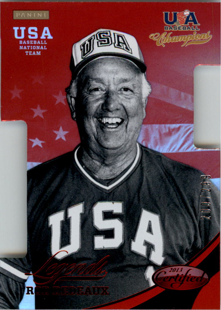 2013 USA Baseball Champions Legends Certified Die-Cuts Mirror Red #15 Rod Dedeaux