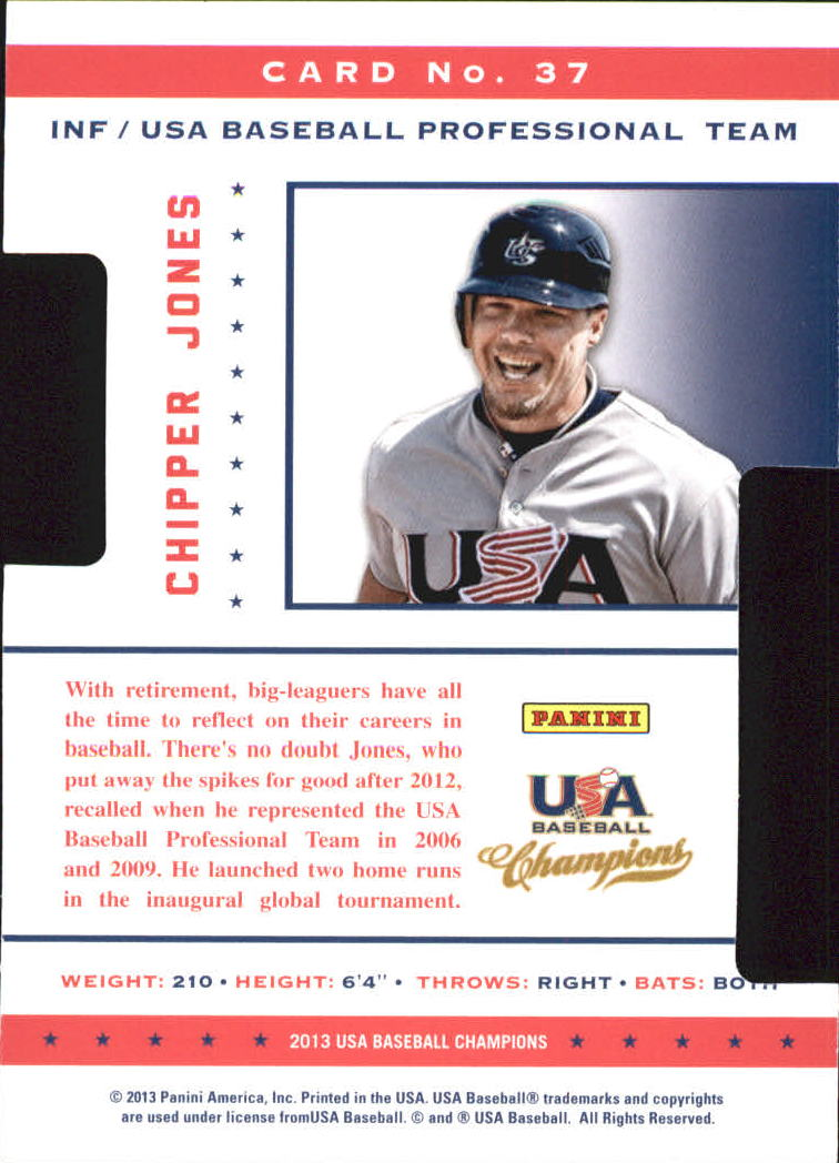 2013 USA Baseball Champions Legends Certified Die-Cuts Mirror Red #37 Chipper Jones
