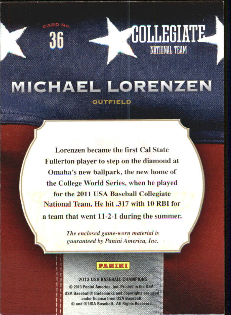 2013 USA Baseball Champions Game Gear Jerseys #36 Michael Lorenzen back image