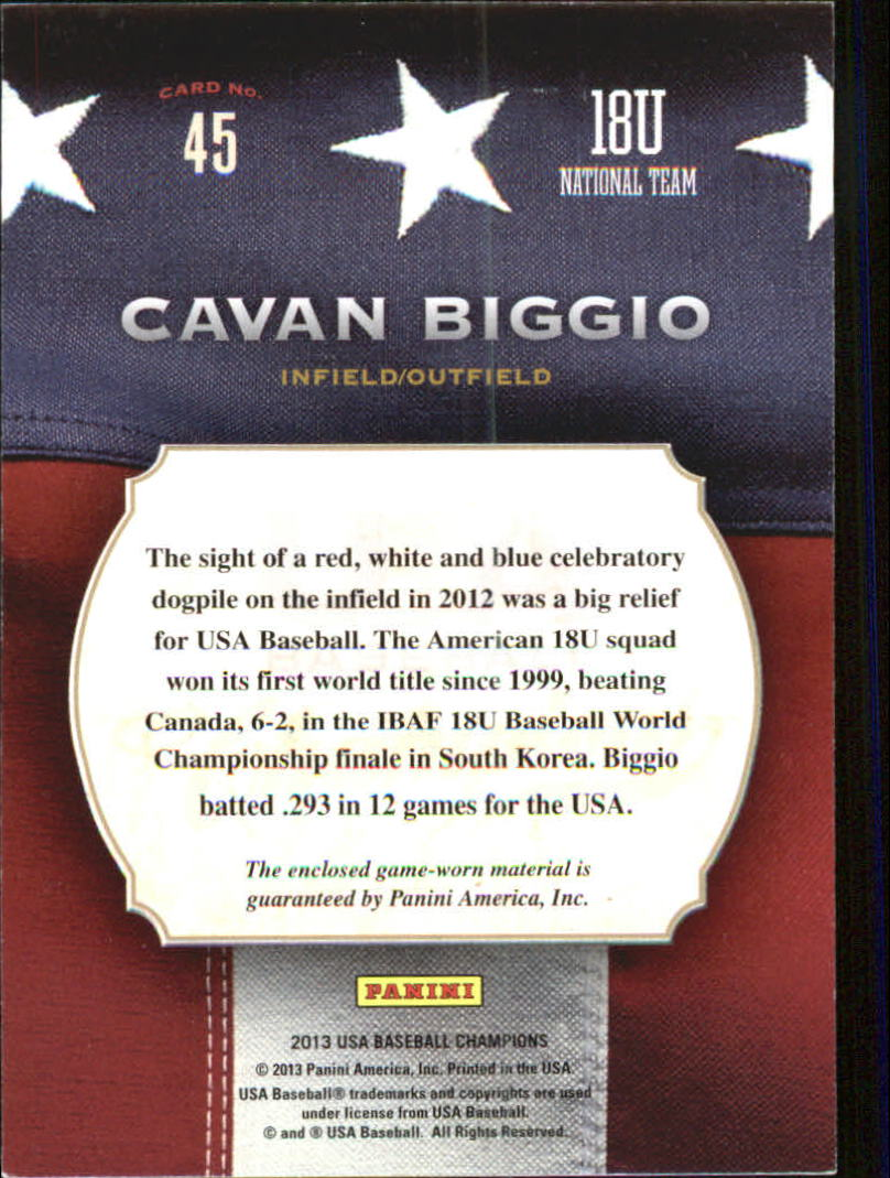 2013 USA Baseball Champions Game Gear Jerseys #45 Cavan Biggio back image