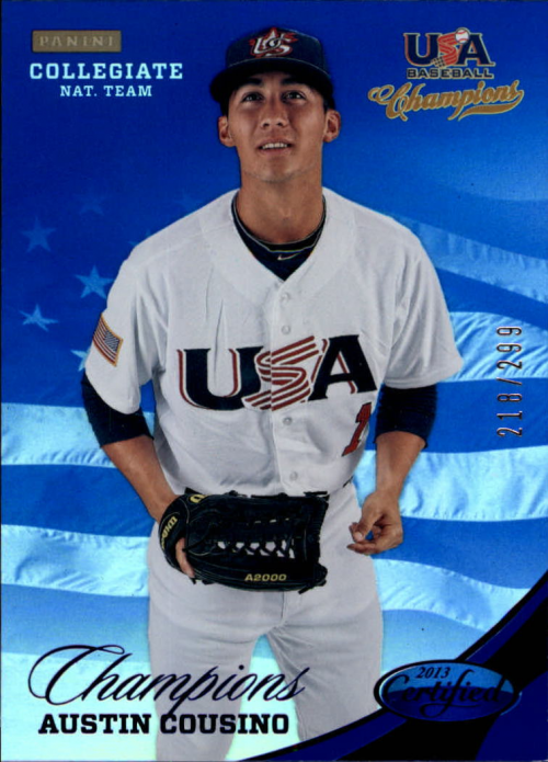 2013 USA Baseball Champions National Team Mirror Blue #130 Austin Cousino