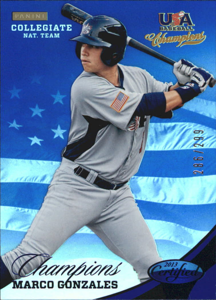 2013 USA Baseball Champions National Team Mirror Blue #135 Marco Gonzales