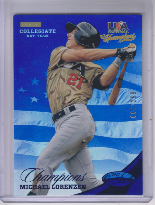 2013 USA Baseball Champions National Team Mirror Blue #138 Michael Lorenzen