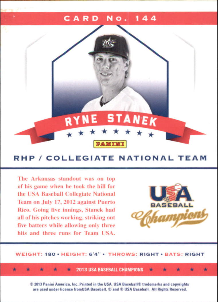 2013 USA Baseball Champions National Team Mirror Blue #144 Ryne Stanek back image