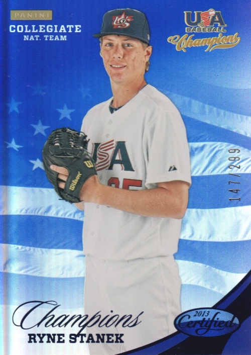 2013 USA Baseball Champions National Team Mirror Blue #144 Ryne Stanek