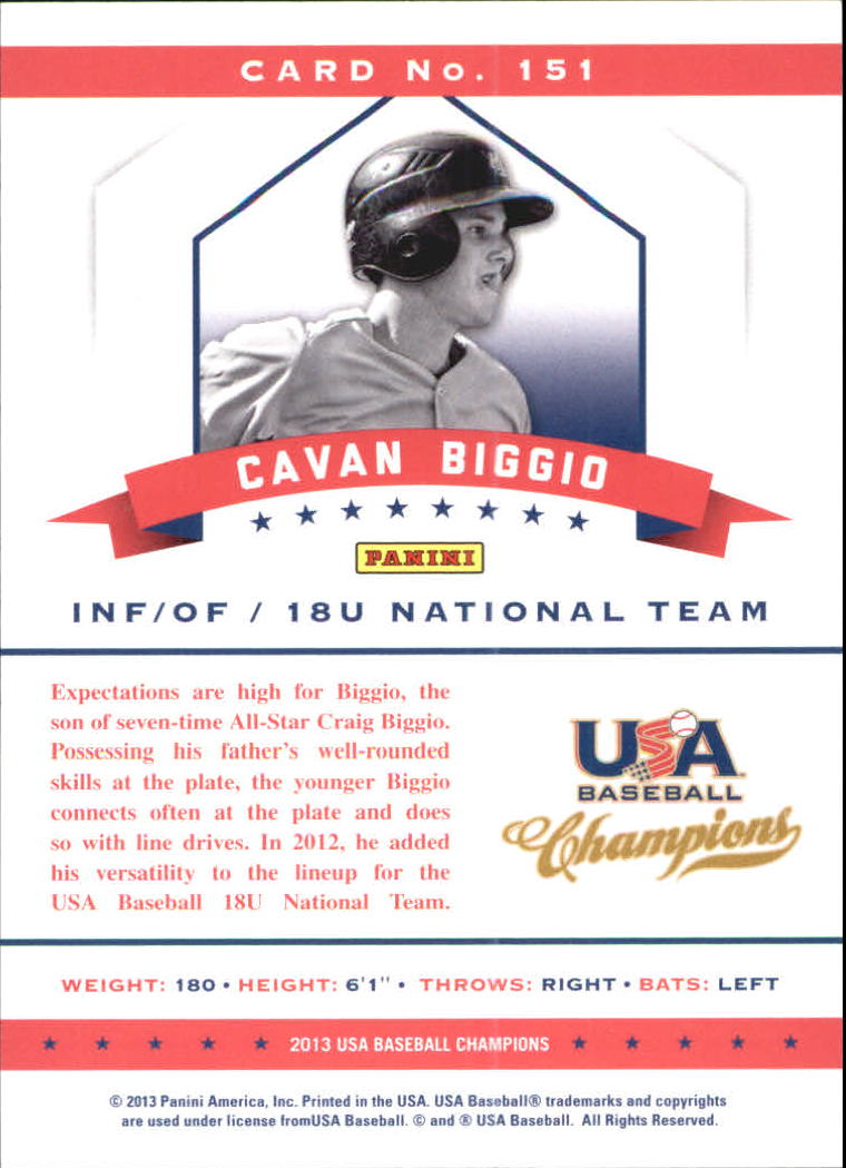 2013 USA Baseball Champions National Team Mirror Blue #151 Cavan Biggio back image