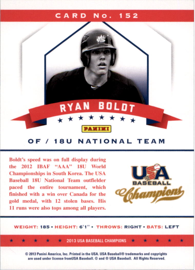 2013 USA Baseball Champions National Team Mirror Blue #152 Ryan Boldt