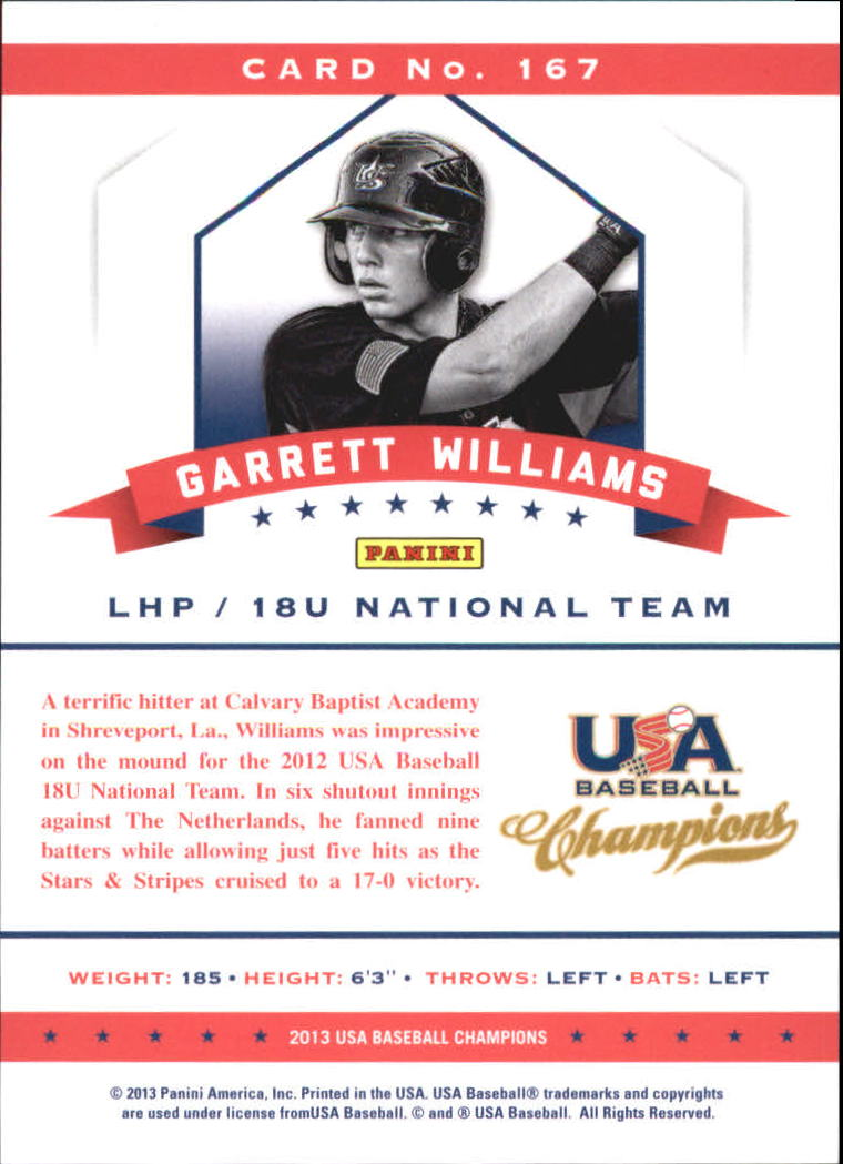 2013 USA Baseball Champions National Team Mirror Green #167 Garrett Williams back image