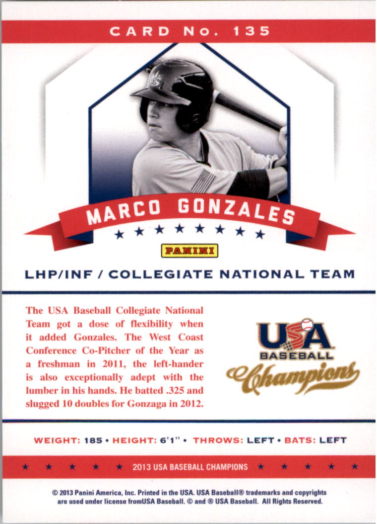 2013 USA Baseball Champions National Team Mirror Red #135 Marco Gonzales