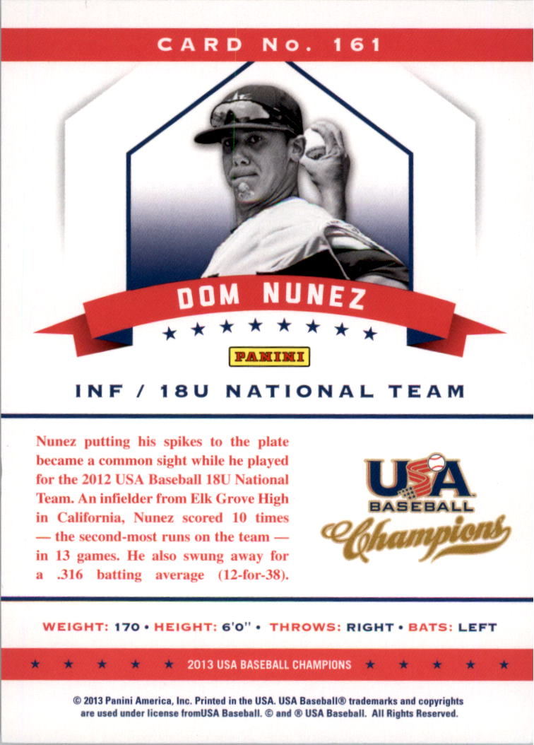 2013 USA Baseball Champions National Team Mirror Red #161 Dom Nunez