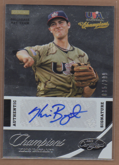 2013 USA Baseball Champions National Team Certified Signatures #2 Kris Bryant/299