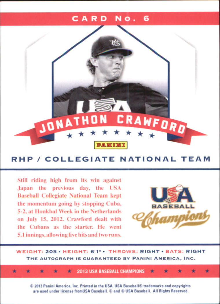 2013 USA Baseball Champions National Team Certified Signatures #6 Jonathon Crawford/299 back image