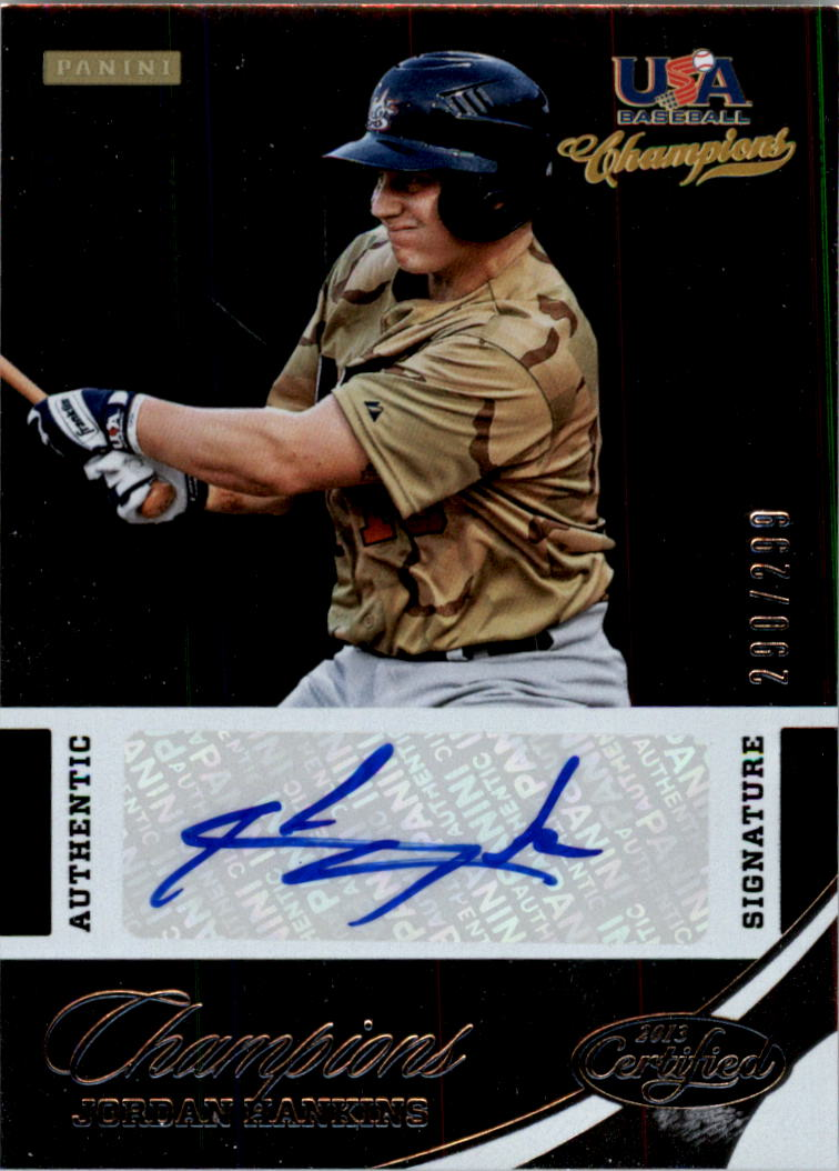 2013 USA Baseball Champions National Team Certified Signatures #12 Jordan Hankins/299