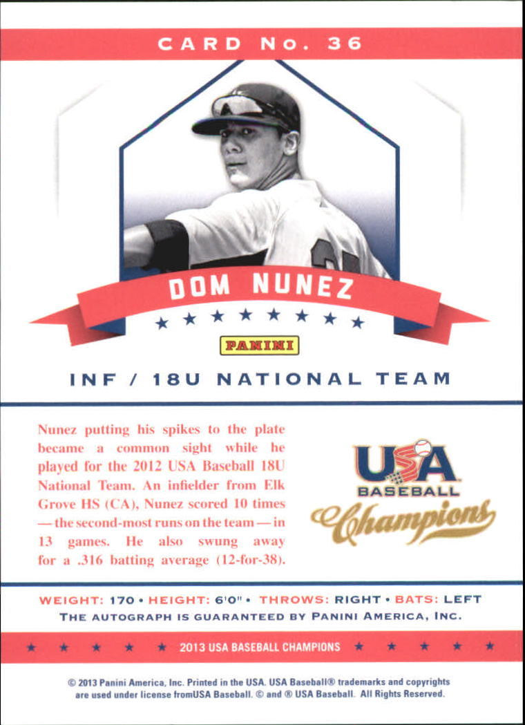 2013 USA Baseball Champions National Team Certified Signatures #36 Dom Nunez/299 back image