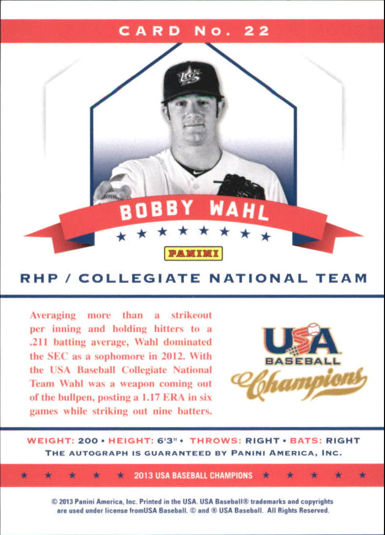 2013 USA Baseball Champions National Team Certified Signatures Mirror Red #22 Bobby Wahl back image